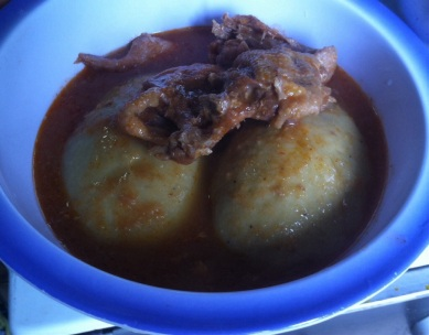 Foufou with pepper soup